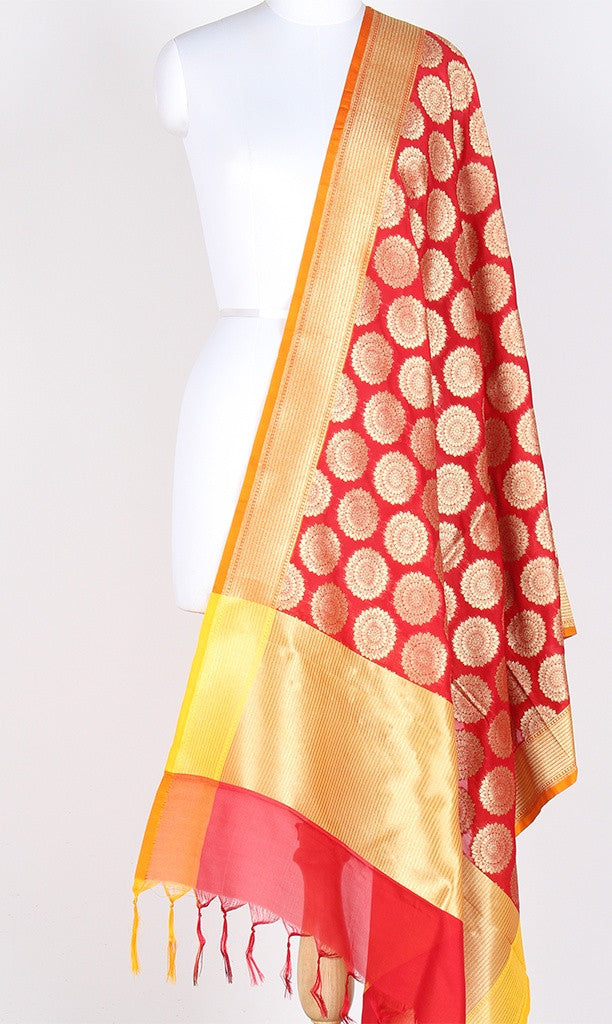 Red Art Silk Banarasi Dupatta with circular booti and zari work SSJB01N97 (1) Main