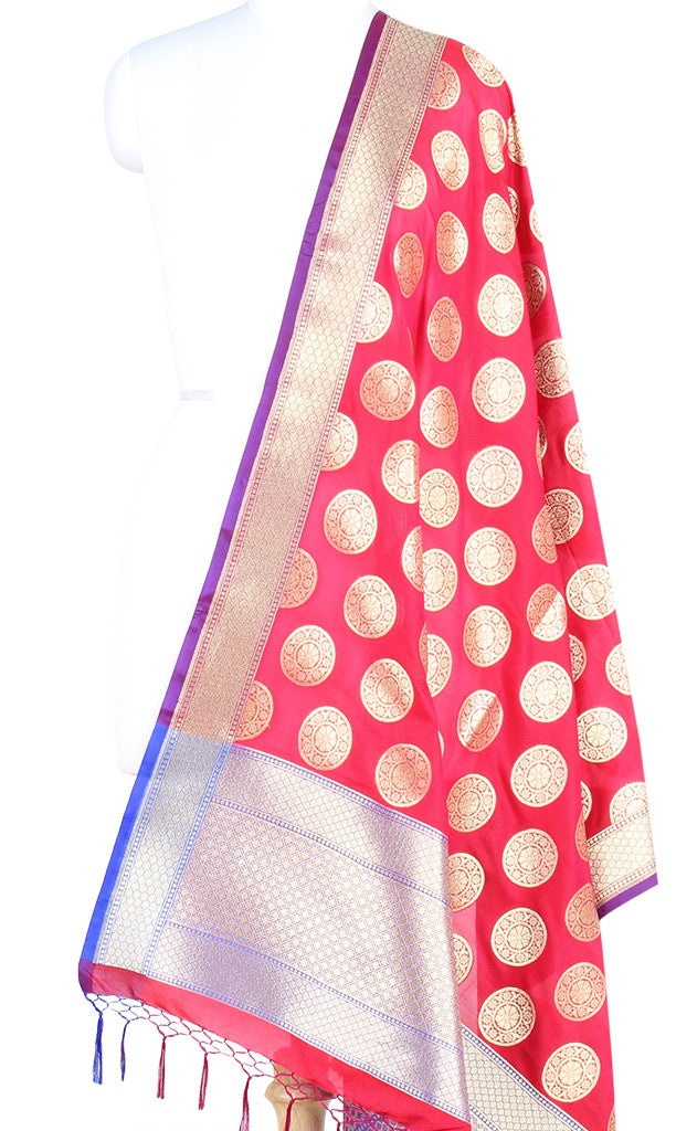 Red Art Silk Banarasi Dupatta with circular floral motifs (PCRVDAS40) (1) Main