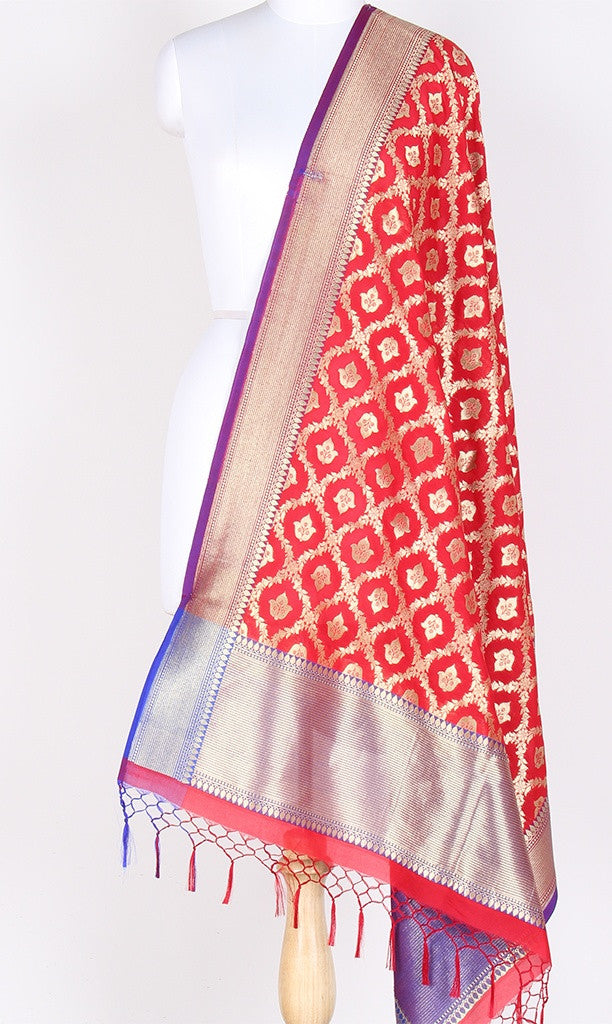 Red Art Silk Banarasi Dupatta with floral jaal and bud motifs SSRVDAS514 (1) Main