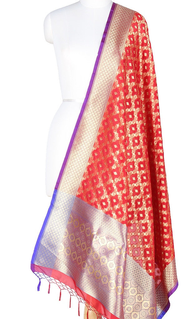 Red Art Silk Banarasi Dupatta with floral jaal and ogee anchal PCRVD04JJ03 (1) Main