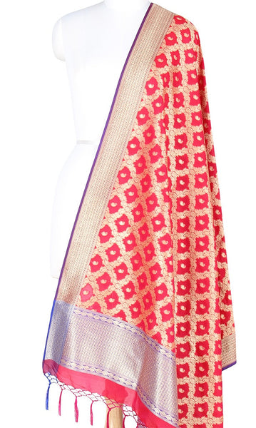 Red Art Silk Banarasi Dupatta with floral jaal and paisley motifs PCRVD04JJ08 (1) Main