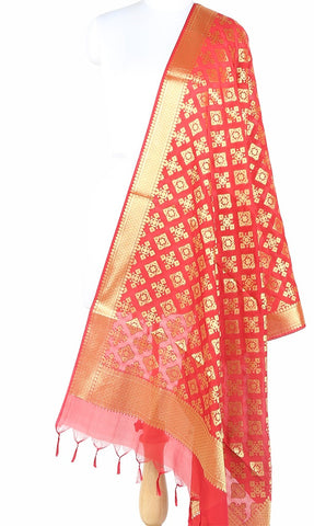 Red Art Silk Banarasi Dupatta with geometrical art (1) Main