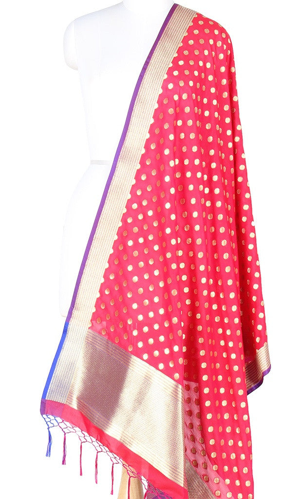 Red Art Silk Banarasi Dupatta with mini floral motifs PCRVDAS403 (1) Main