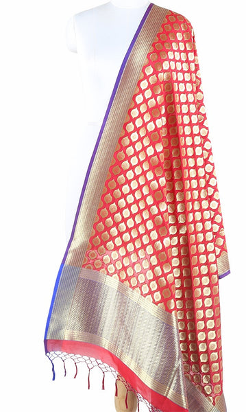 Red Art Silk Banarasi Dupatta with ogee pattern motifs ZISSRVDAS659 (1) Main
