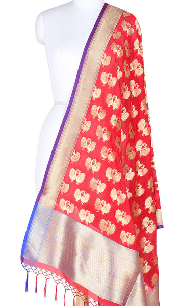 Red Art Silk Banarasi Dupatta with peacock motifs and zari work SSRVDAS501 (1) Main