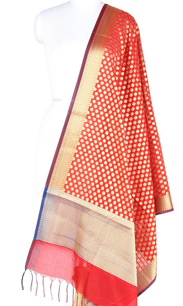 Red Art Silk Banarasi Dupatta with polka dots and zari work PCRVD01N48 (1) Main