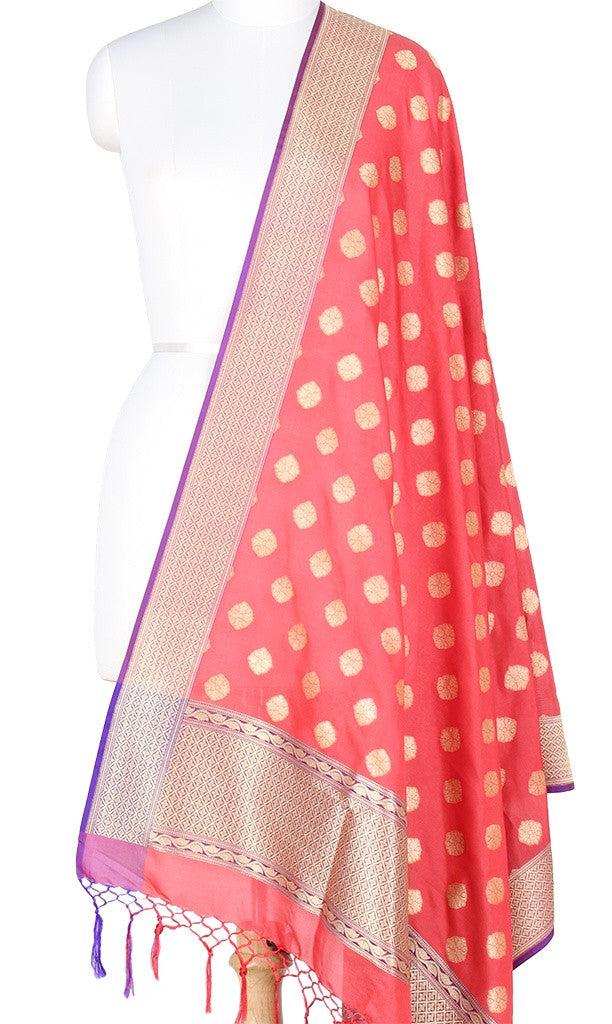 Red Art Silk Banarasi Dupatta with round floral motifs with purple edge PCRVD03GB02 (1) Main