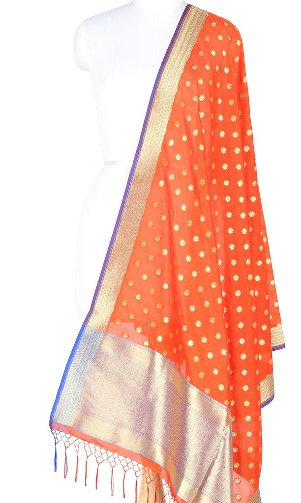 Red Art Silk Banarasi Dupatta with small floral booti PCRVDAS113 (1) Main