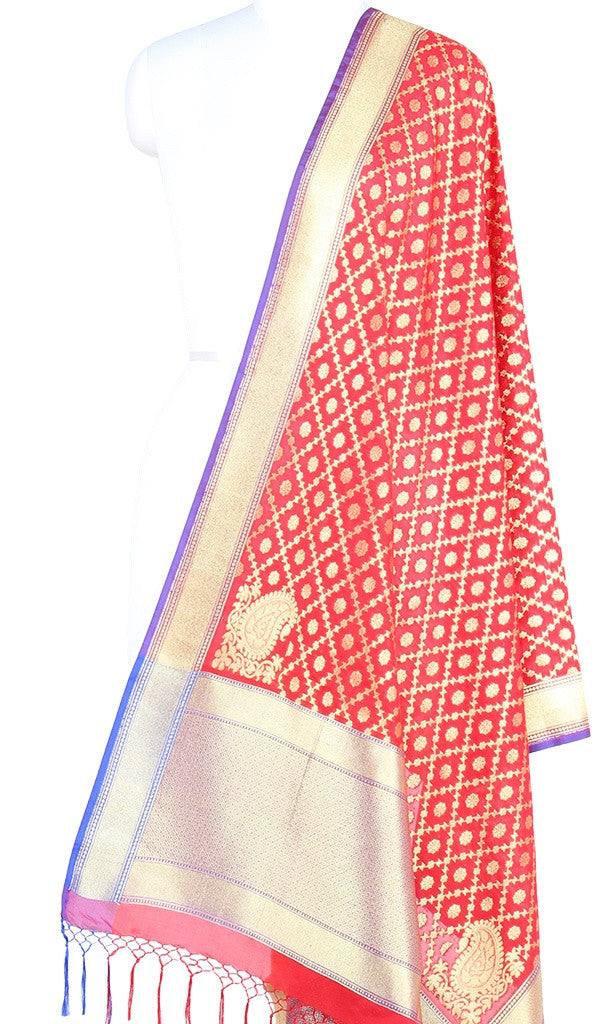 Red Art Silk Banarasi Dupatta with stylized grid jaal (PCRVDAS73) (1) Main