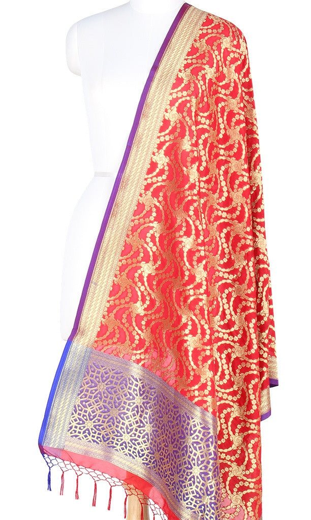 Red Art Silk Banarasi Dupatta with stylized jaal PCRVDAS121 (1) Main