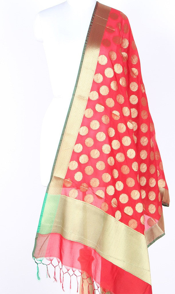 Red Art Silk Banarasi dupatta with Artistic Boota SSRVD01N114 (1) Main