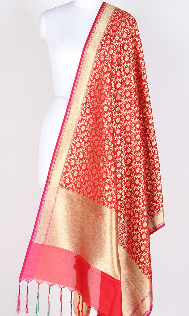Red Art Silk Banarasi dupatta with stylized flower jaal SSJB01N86 (1) Main