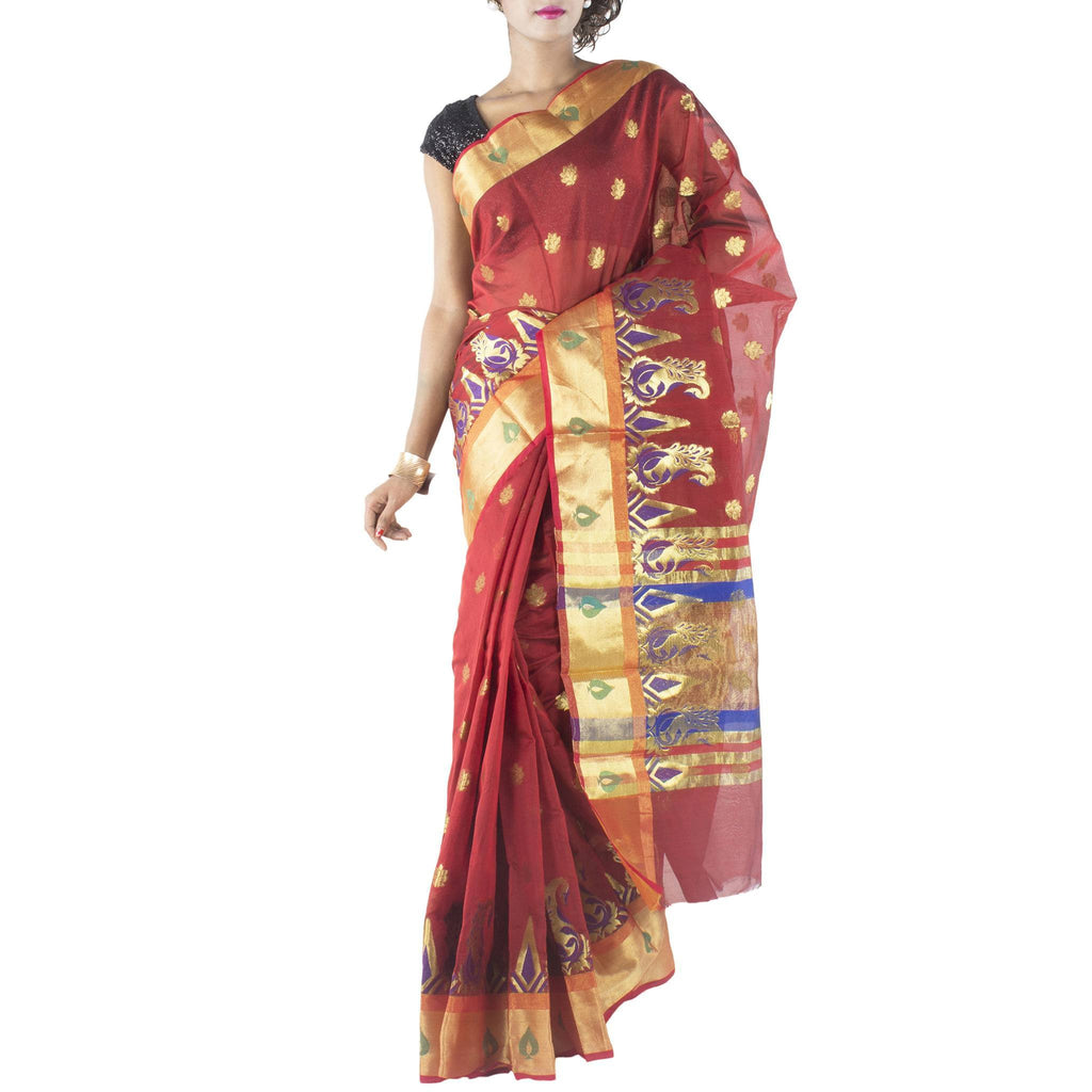 Red Art Silk Saree with Floral motifs and Zari work