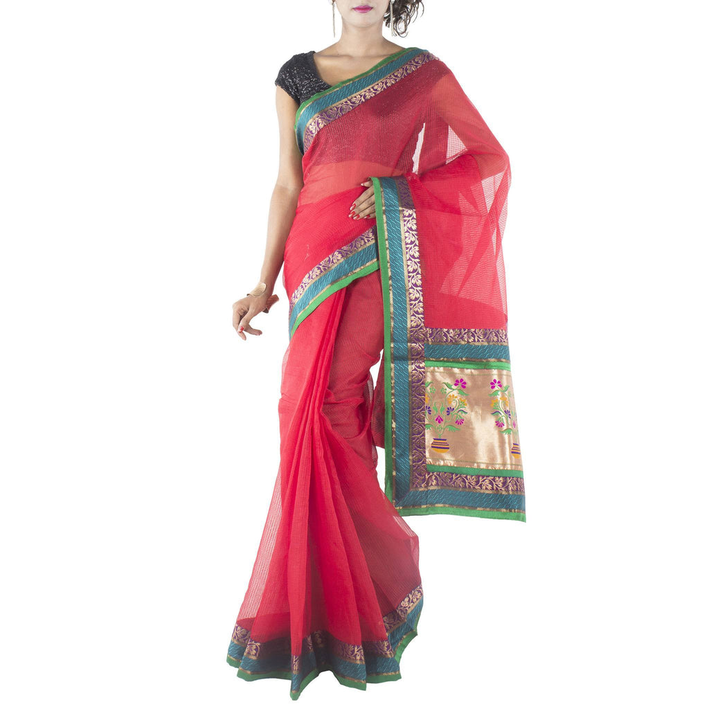 Red Art Silk Saree with patched Brocade border and anchal