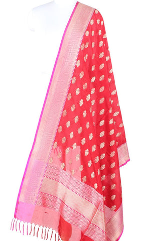 Red Banarasi Silk Dupatta with Dhakai flower motifs PCPBD03S41 (1) Main