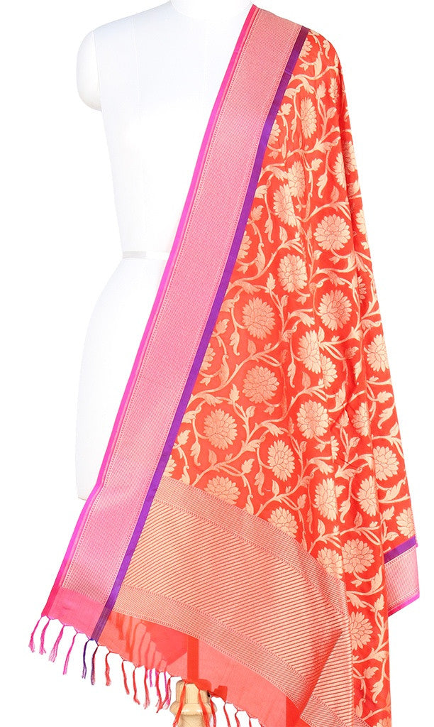 Red Banarasi Silk Dupatta with floral jaal and zari work PCPBD03S13 (1) Main