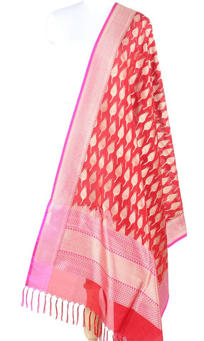 Red Banarasi Silk Dupatta with flower bud boota PCPBD03S34 (1) Main