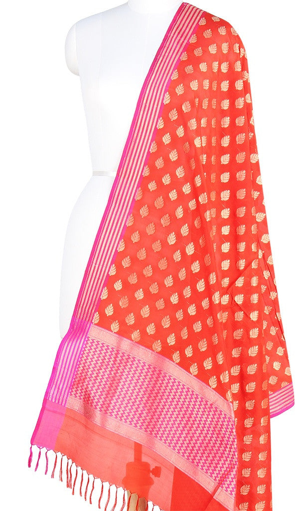 Red Banarasi Silk Dupatta with leaf motifs and zari work PCPBD03S02 (1) Main