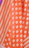 Red Banarasi Silk Dupatta with stylized motifs and leaf stripes PCPBD03S10 (2) Close up