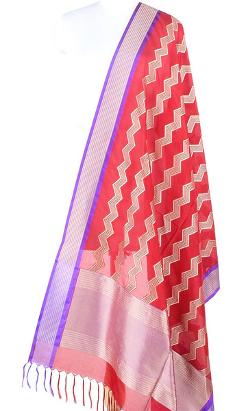 Red Banarasi Silk Dupatta with vertical chevron stripes PCPBD03S37 (1) Main