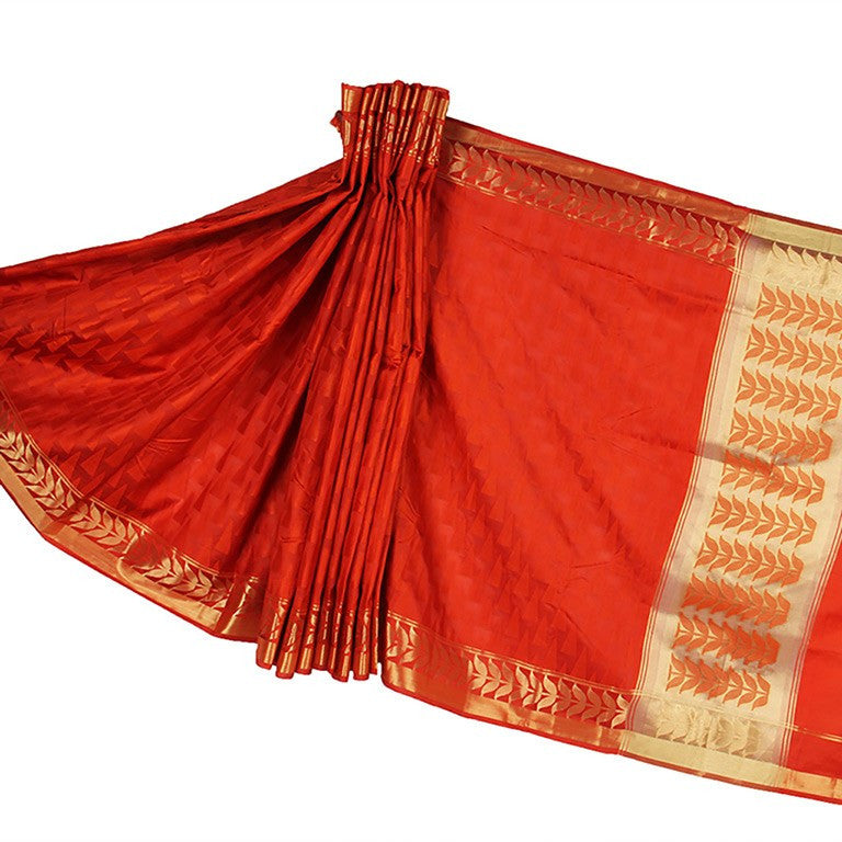 Red Banarasi Silk Saree with Triangular motifs and Zari work