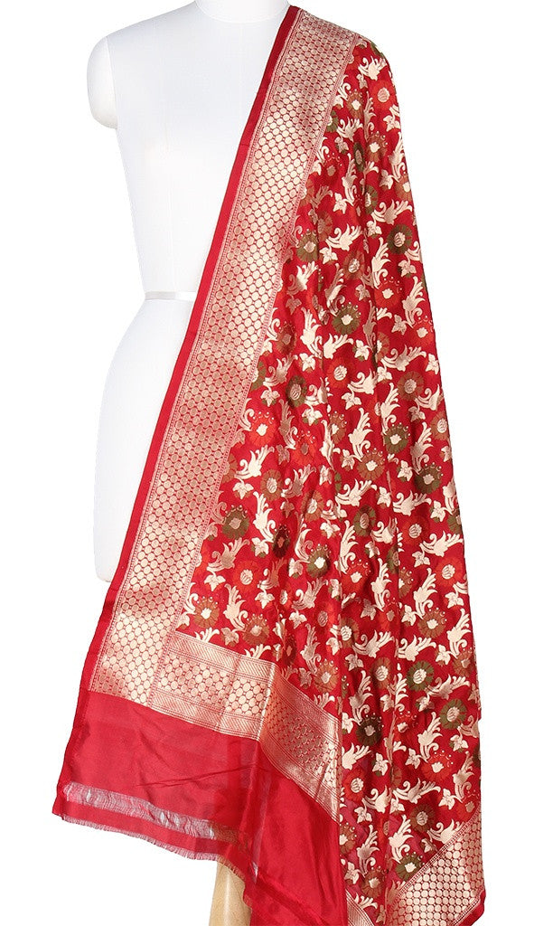 Red Katan Silk Banarasi Dupatta with multi color floral jaal PCRVD01A02 (1) Main