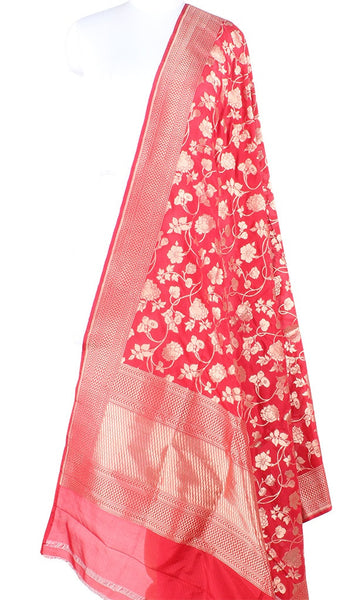 Red Katan Silk Handwoven Banarasi dupatta with flower jaal PCARS05KS07 (1) Main