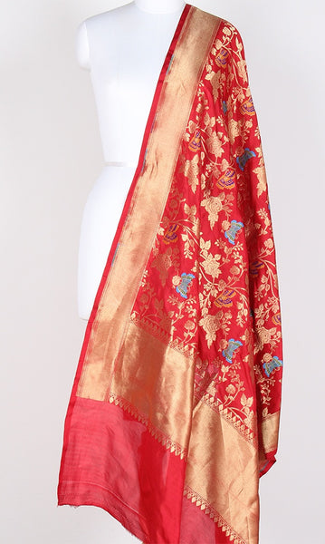 Red Katan Silk Hanwoven Banarasi Dupatta with flower and butterfly jaal PCRVDKS03BY01 (1) Main