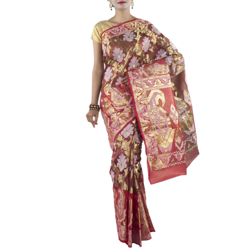 Red Kora Art Silk Saree with stylized Floral Jaal and Zari work
