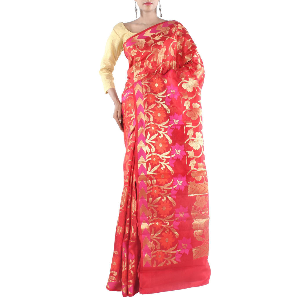 Red Silk Saree with Floral jaal and Zari work
