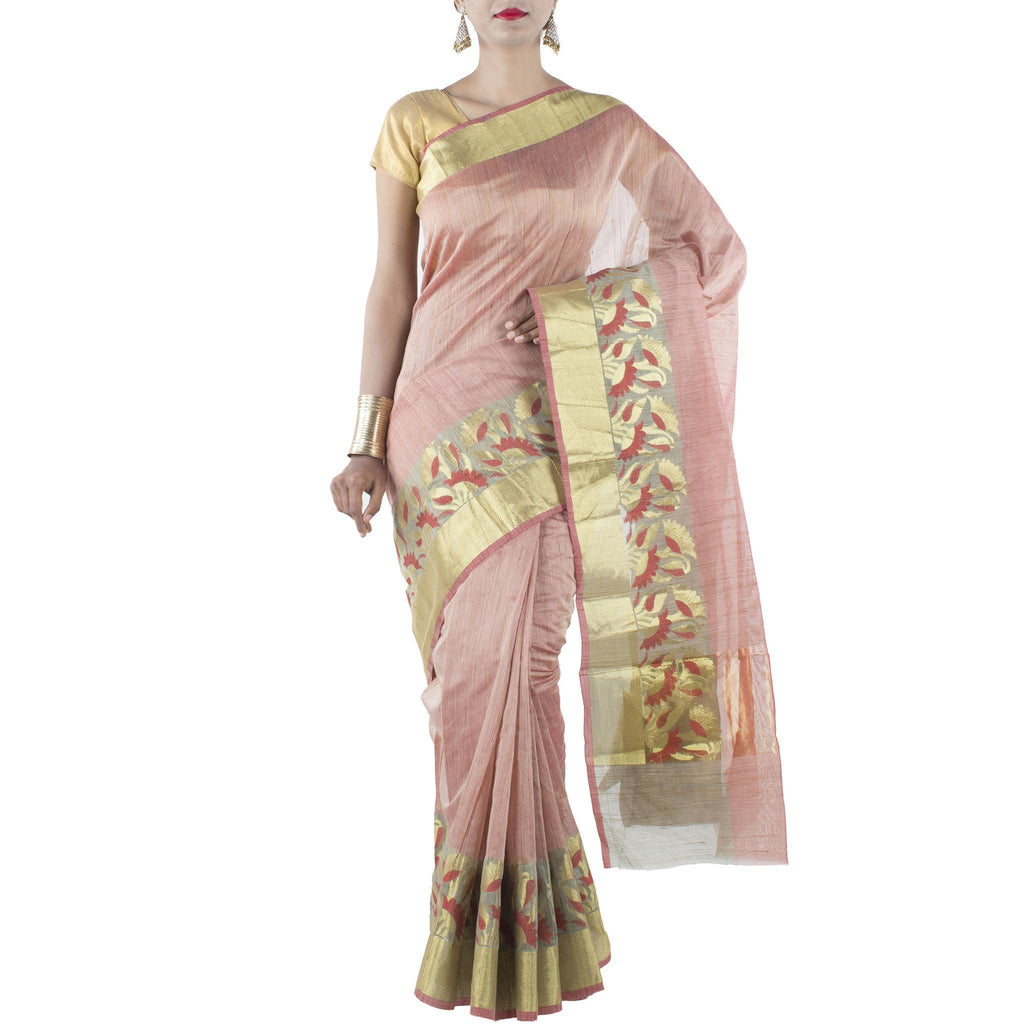 Red color Art Silk Cotton Saree with Floral Motifs and Zari work