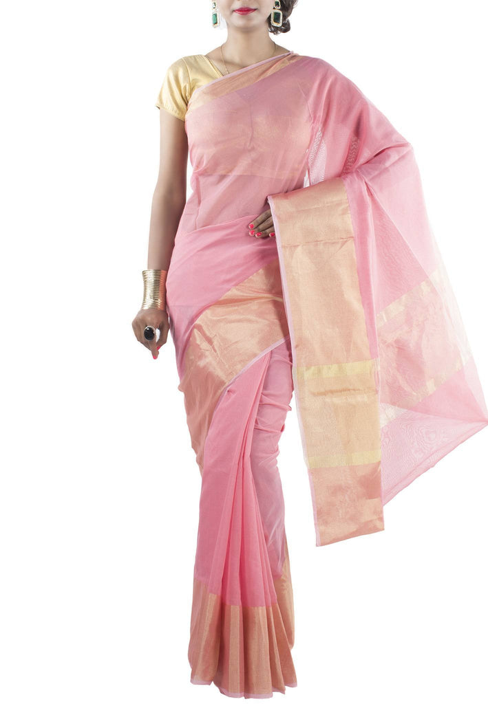 Rose Pink Chanderi Art Silk Cotton Saree with Zari work
