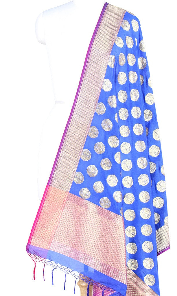 Royal Blue Art Silk Banarasi Dupatta with stylized circular motifs (PCRVDAS51) (1) Main