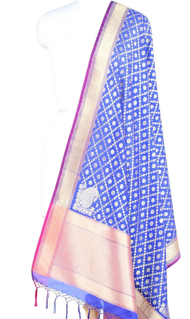 Royal Blue Art Silk Banarasi Dupatta with stylized grid jaal (PCRVDAS17) (1) Main