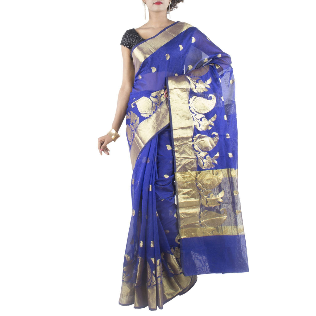 Royal Blue Art Silk Saree with Paisley motifs and Zari work