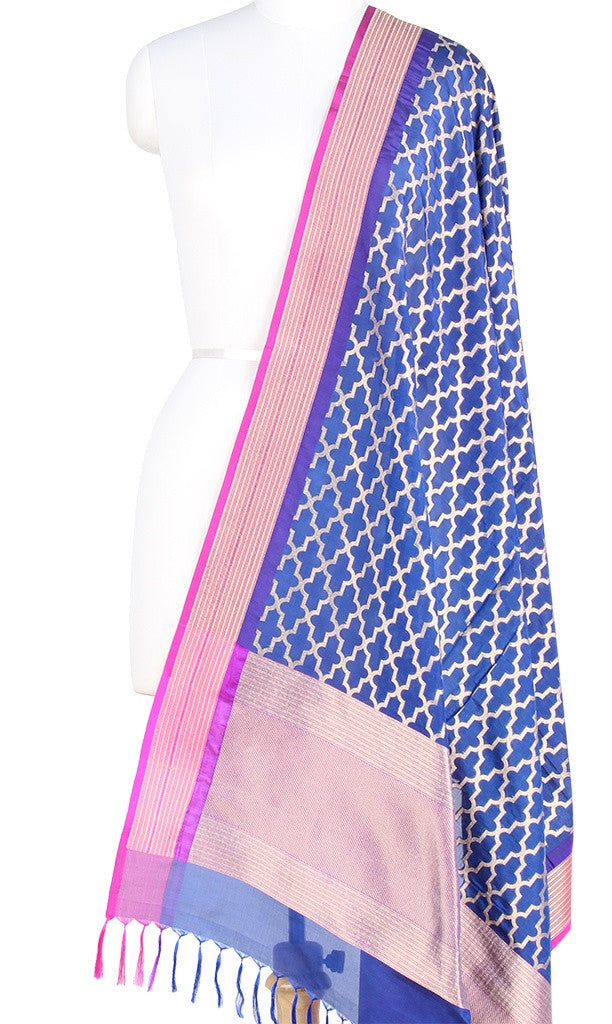 Royal Blue Banarasi Silk Dupatta with stylized jaal and zari work PCPBD03S01 (1) Main