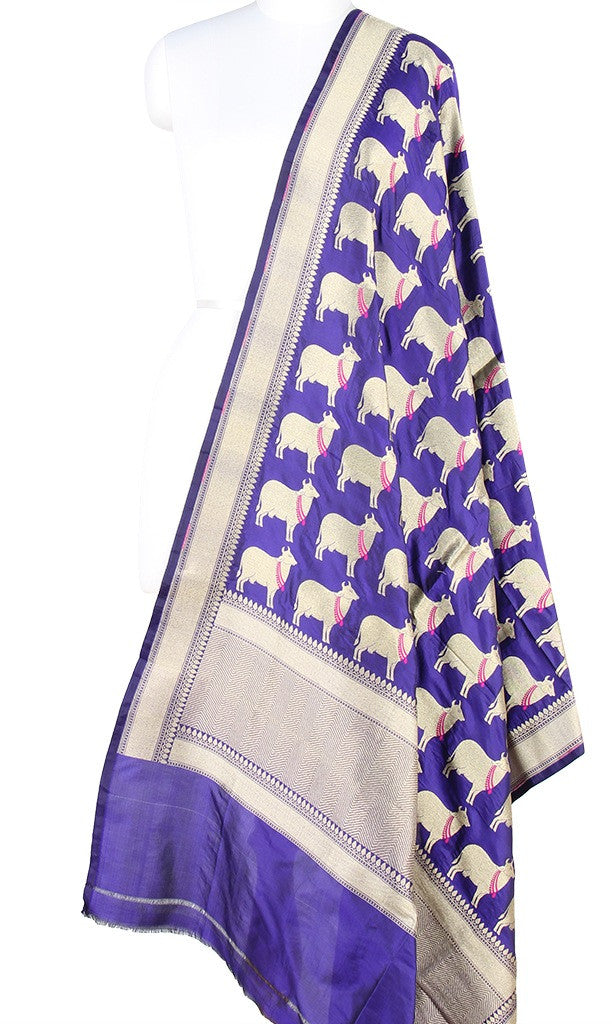 Royal blue Katan silk Banarasi dupatta with cow motifs (PCRVD02C05) (1) Main