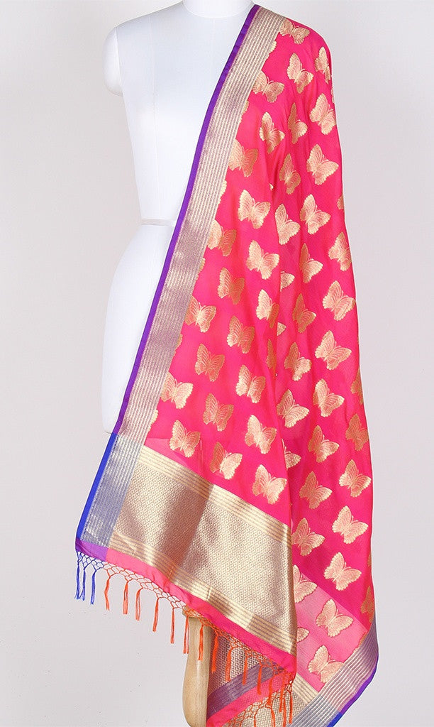 Salmon Art Silk Banarasi Dupatta with butterfly motifs SSRVDAS533 (1) Main