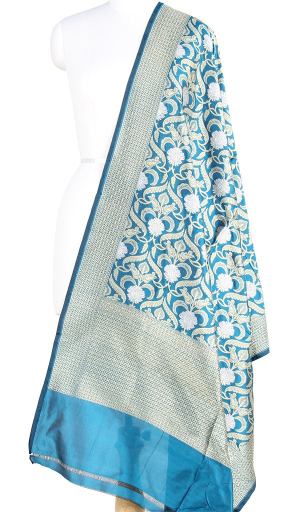 Sapphire Blue Katan Silk Banarasi Dupatta with stylized jaal and zari work PCRVD01B11 (1) Main