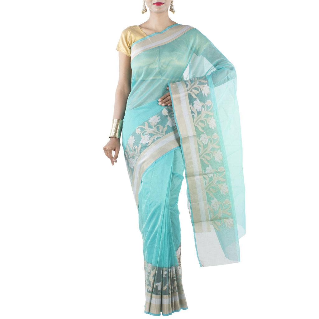Sea Green Art Silk Cotton Saree with woven Floral motifs
