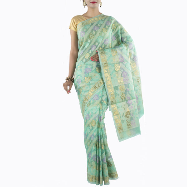 Sea Green Art Silk Saree with multi color floral motifs and zari work