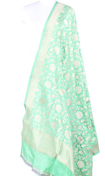Sea Green Katan Silk Banarasi Dupatta with elegant flower jaal PCARS05KS09 (1) Main
