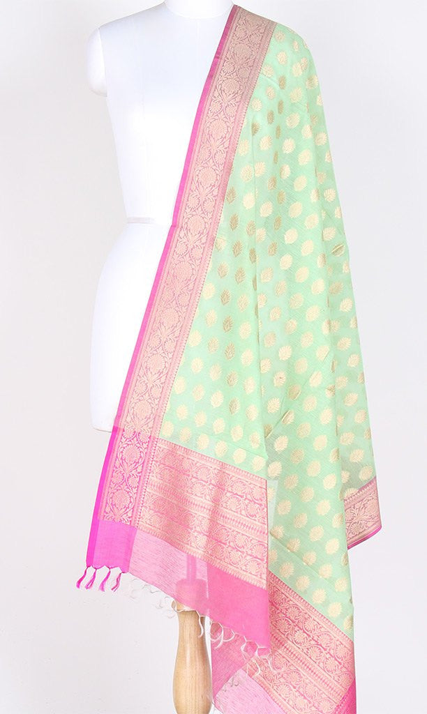 Sea Green Silk Cotton Banarasi Dupatta with artistic leaf motifs PCPBD02SC7 (1) Main