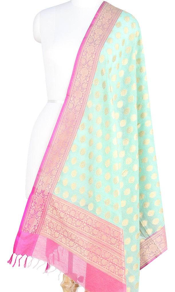 Sea Green Silk Cotton Banarasi Dupatta with leaf motifs and zari work PCPBD02SC03 (1) Main
