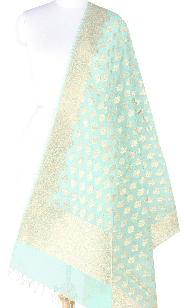 Sea Green Silk Cotton Banarasi Dupatta with stylized floral motifs (PCPBD03SC06) (1) Main