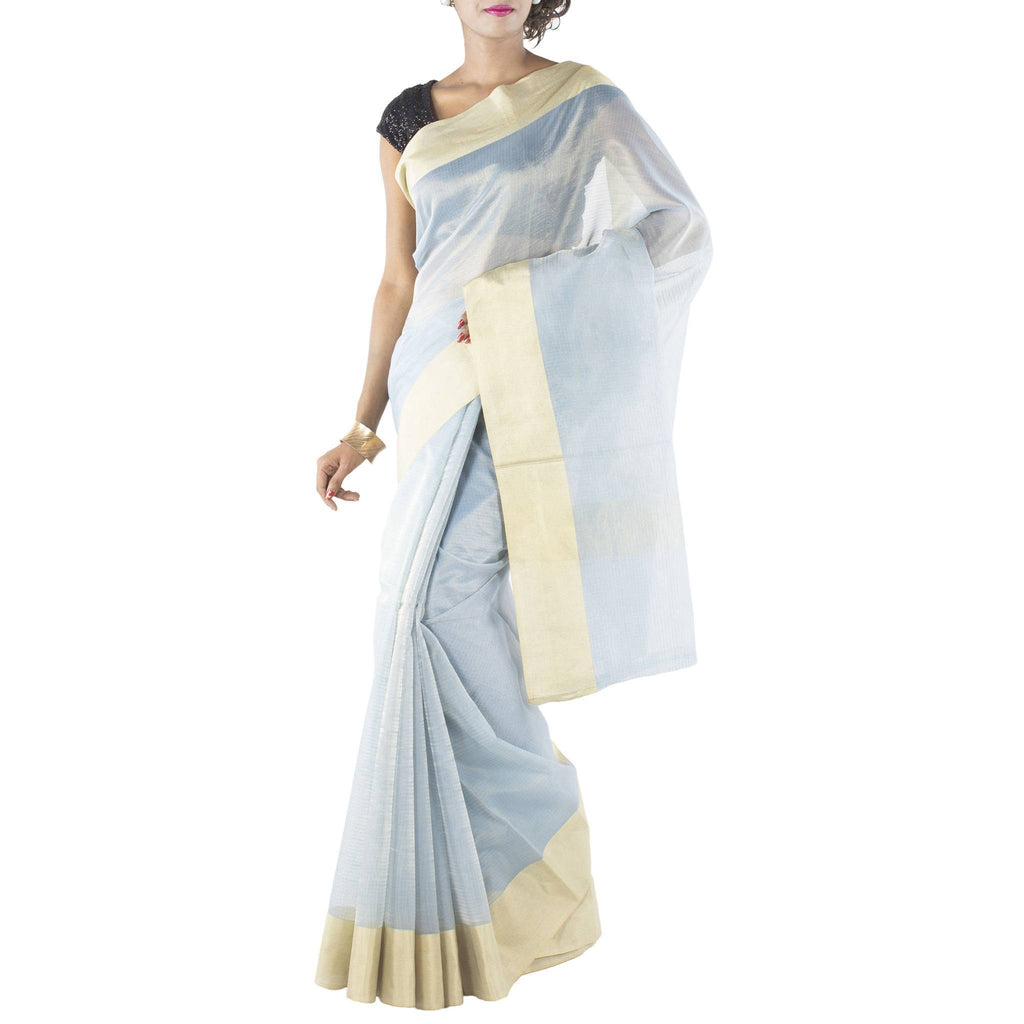 Sky Blue Art Silk Cotton Saree with Zari work