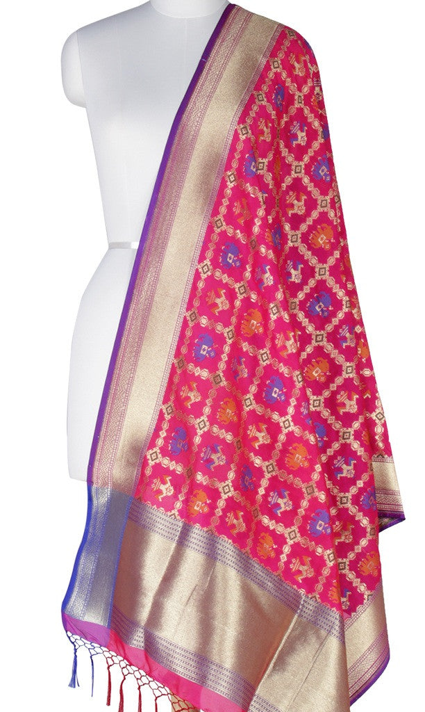 Starwberry Red Art Silk Banarasi Dupatta with patan patola design Main Image