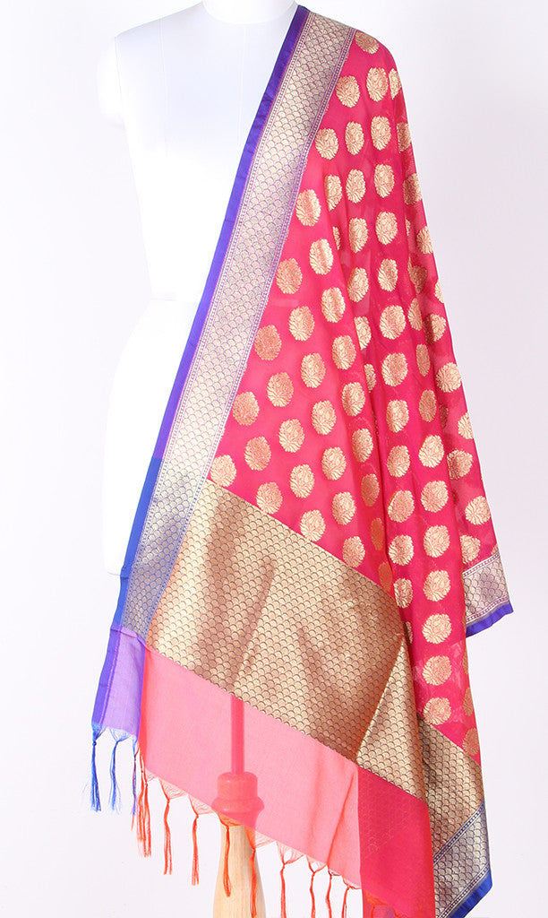 Strawberry Red Art Silk Banarasi dupatta with stylized booti and blue edge SSJB01N115 (1) Main