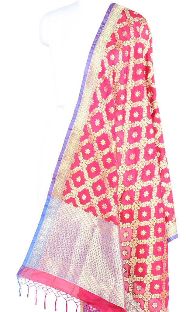 Strawberry red Art Silk Banarasi Dupatta with leaf jaal and floral motifs (PCRVDAS66) (1) Main
