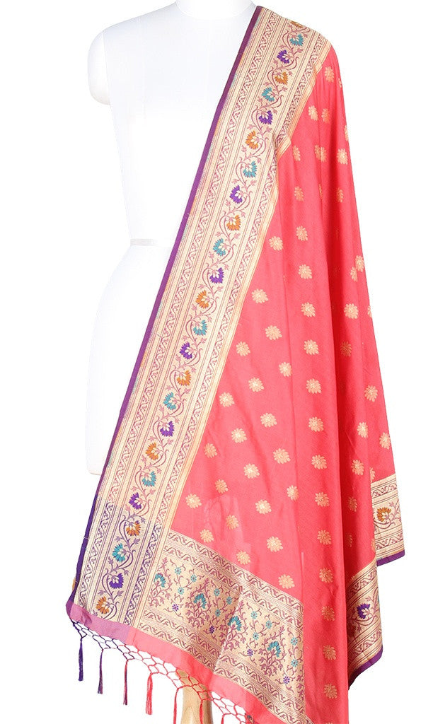 Strawberry red Art Silk Banarasi Dupatta with multi color border PCRVD05TG01 (1) Main